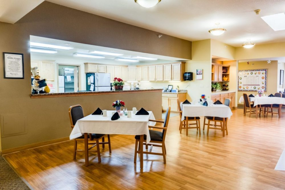 Lexington Heritage's full kitchen and dining room area open to residents and their families.