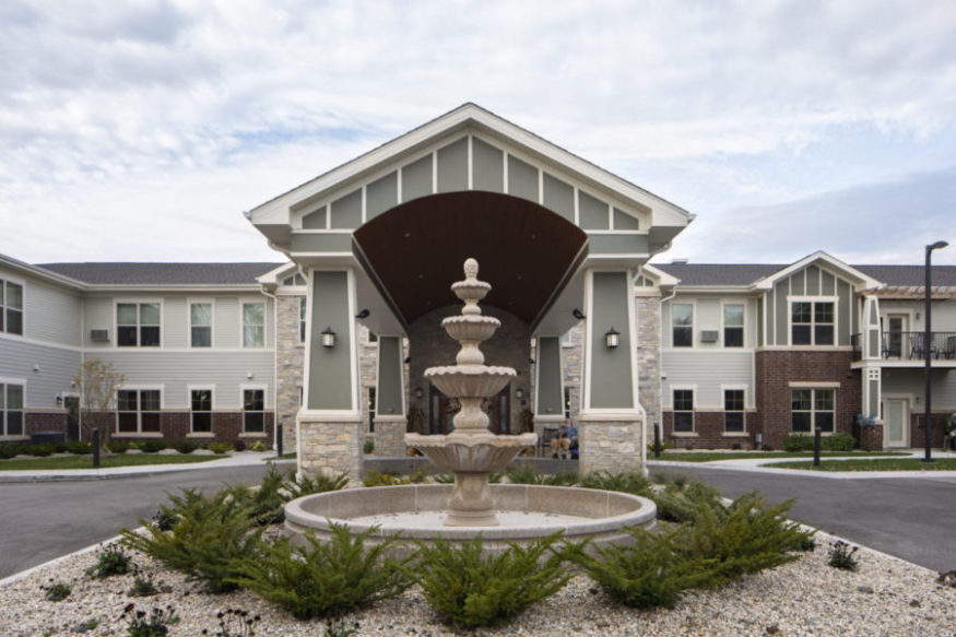 Heritage Muskego's front entry with a beautiful, welcoming fountain.