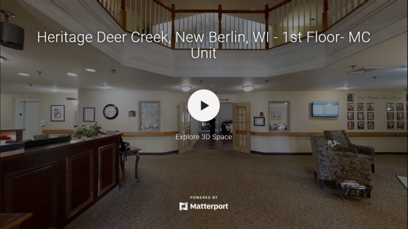 A virtual tour of Heritage Deer Creek's first floor memory care unit.