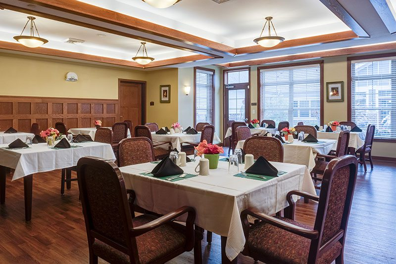 The dining room at Heritage Waukesha provides an open area for residents' meals.