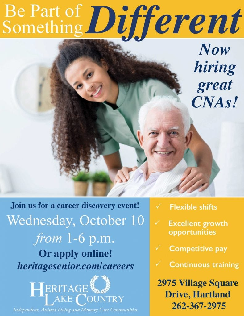 Heritage Lake Country October 10 Job Fair CNAs
