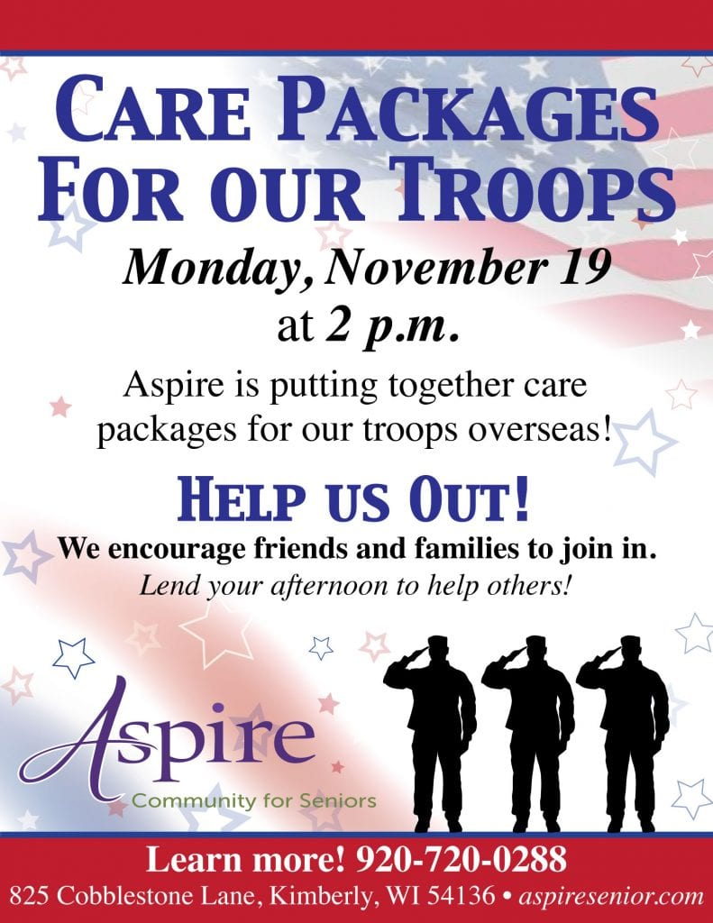 Aspire Senior Living Care Packages for our Troops Veterans Day