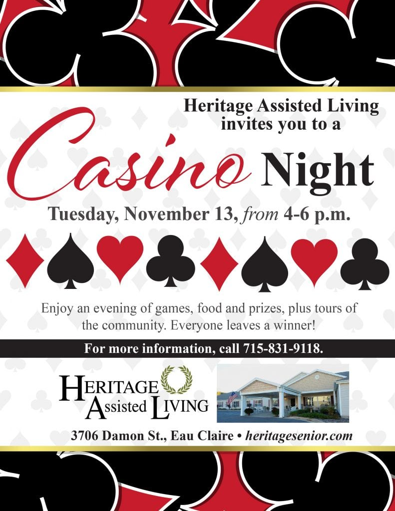 Heritage Assisted Living Eau Claire Casino Night