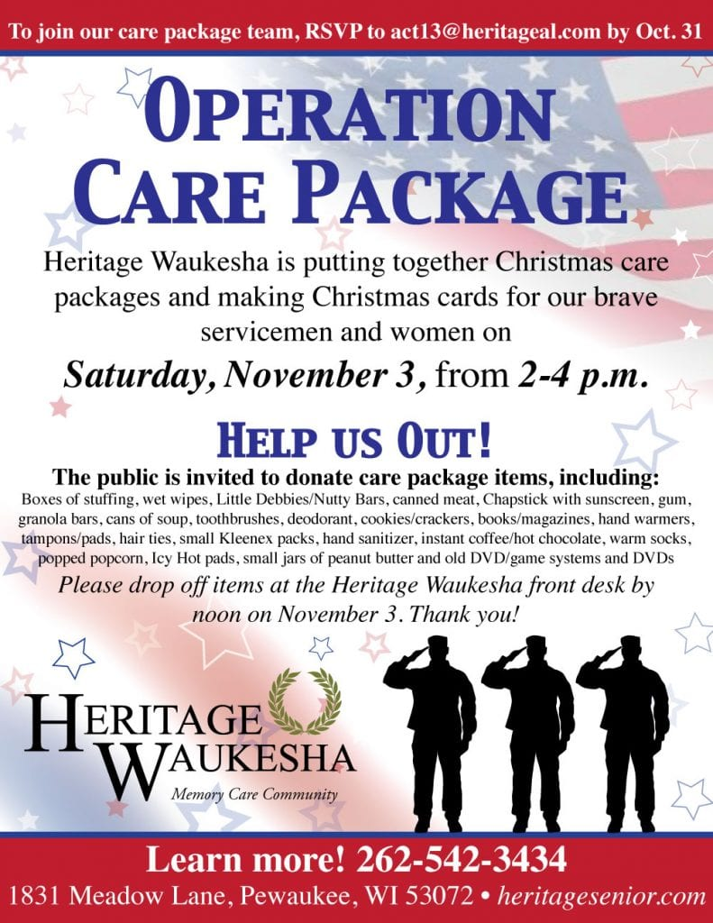 Heritage Waukesha Operation Care Package