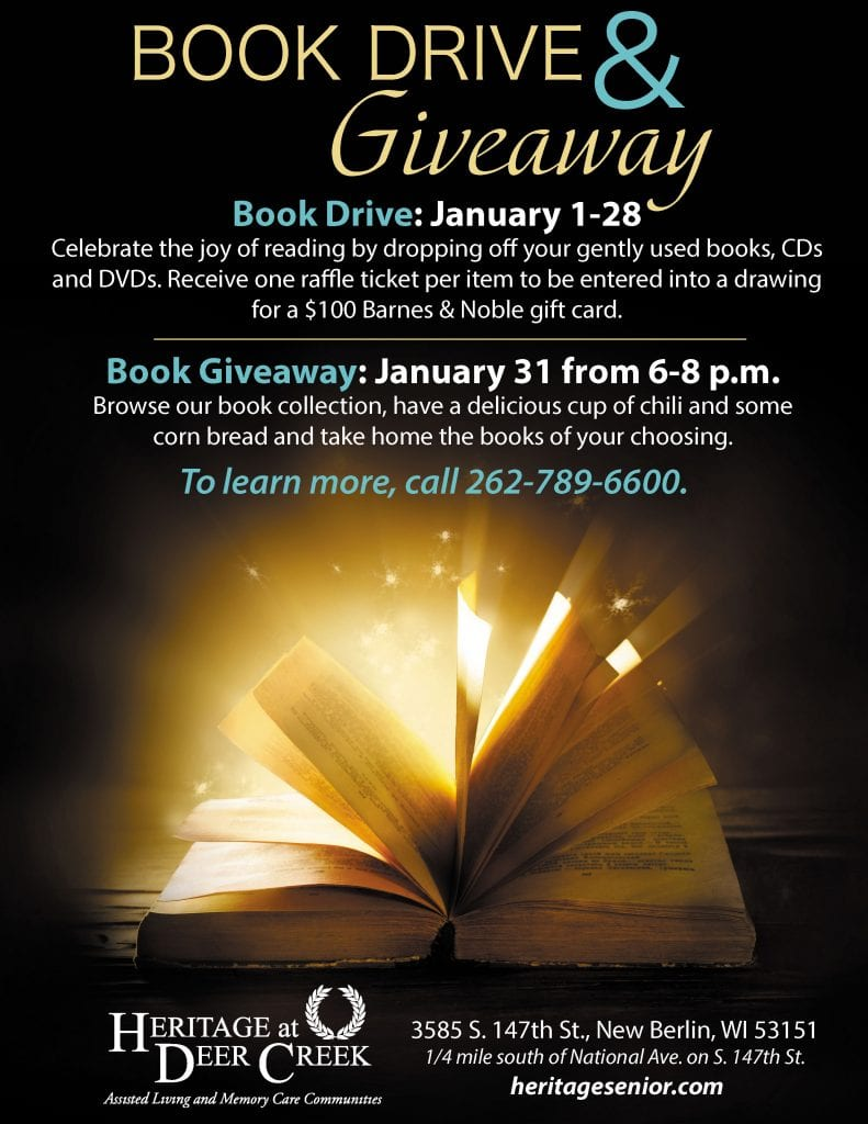 Heritage at Deer Creek Book Drive and Giveaway