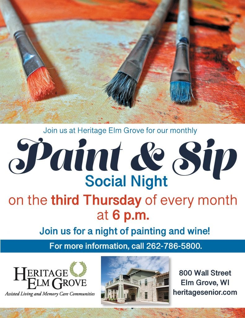 Heritage Elm Grove Monthly Paint and Sip Social Night