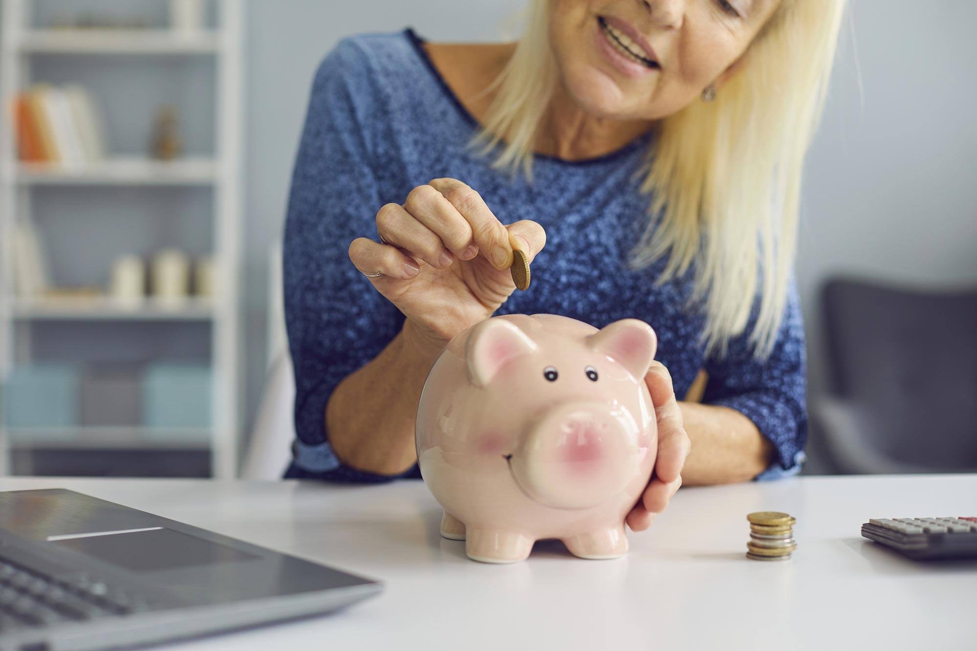 Senior woman finding unique ways to save for retirement.