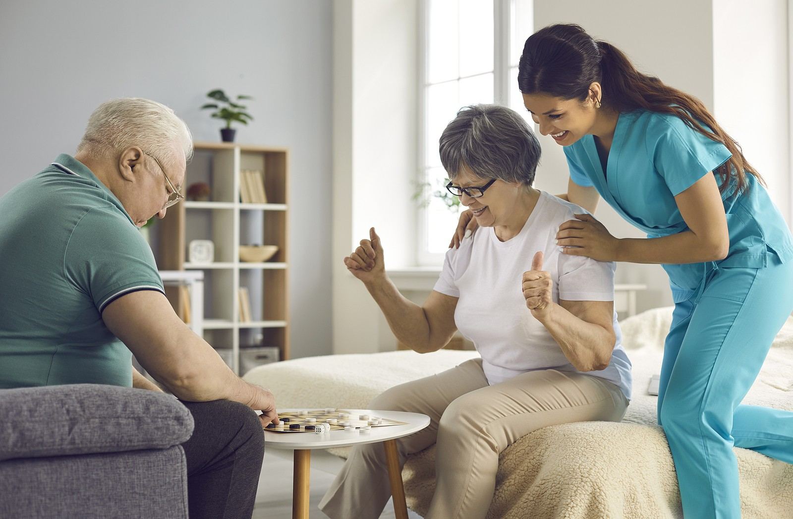 Caregiver interacting with dementia patients